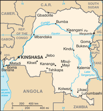 Mappa della Repubblica Democratica del Congo