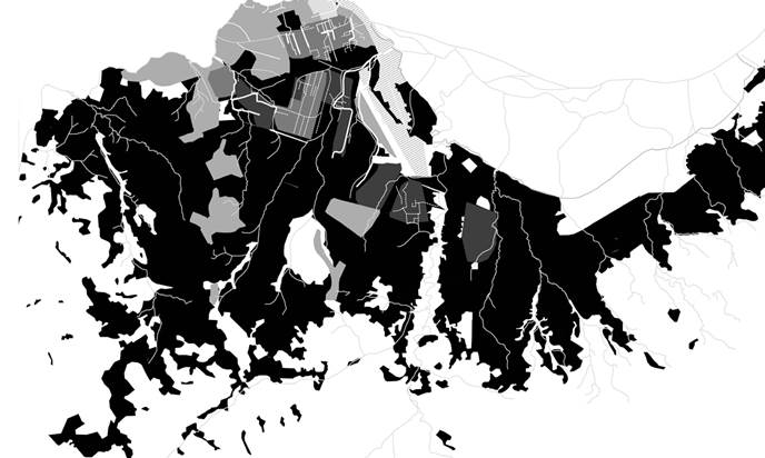 Kinshasa water infrastructure (black indicates the lack of drains and sewers) (courtesy WaterAid)