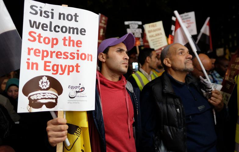 Manifestazione di protesta organizzata a Londra durante la visita di Al Sisi nel 2015