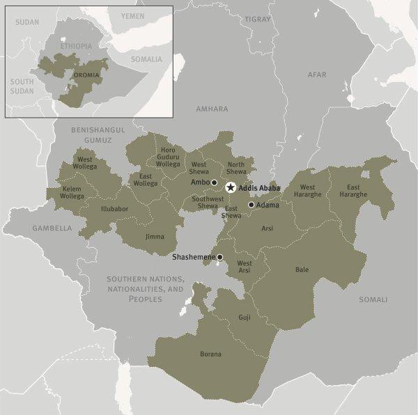 Mappa dell'Etiopia (courtesy Hrw)