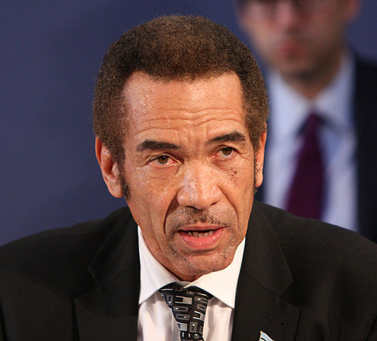 Ian Khama, presidente del Botswana, a Londra durante la conferenza sul commercio illegale di flora e fauna selvatica in Africa
