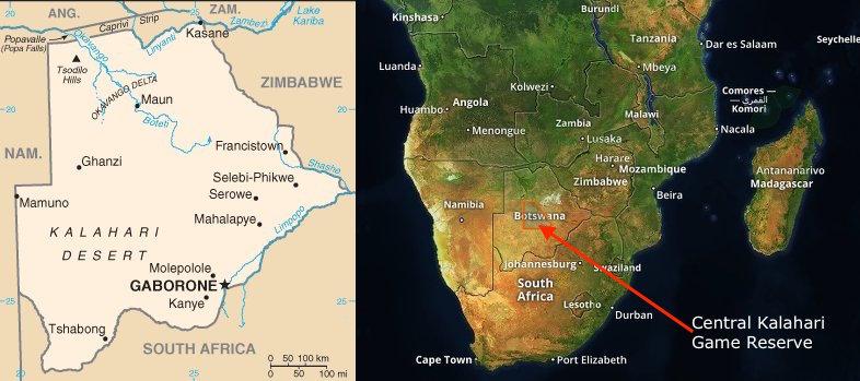 Mappa del Botswana e dell'Africa australe