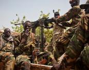 Militiamen patrolling the street of Juba