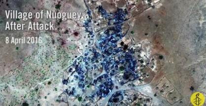 Foto satellitare del villaggio di Nouguey dopo l'attacco con armi chimiche (Courtesy Amnesty International)