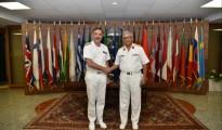 Fayez al Serraj, capo della Guardia costiera libica a destra Enrico Credendino, Operazione Sophia a sinistra
