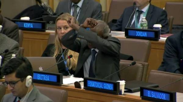 Yemane Gebrehab protests during the session of UN