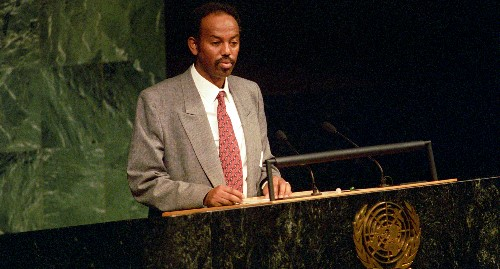 Petros Solomon during a UN intervention, immediately after the liberation dellì'Eritrea
