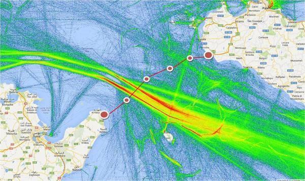 La mappa che illustra come si intenderebbe realizzare il ponte sul Canale di Sicilia