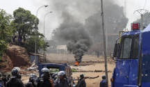 Un momento della protesta in Guinea