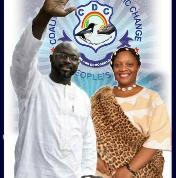 Geroge Weah, candidato presidente e Howard Taylor, candidata cice presidente di Weah e ex moglie di Charles Taylor