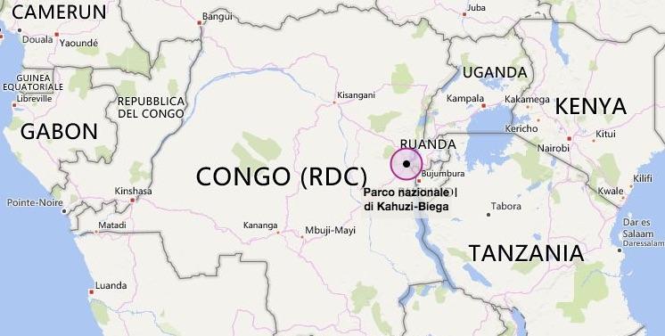 Nella mappa la posizione del parco Kahuzi-Biega nelle Repubblica Democratica del Congo (courtesy Bing maps)