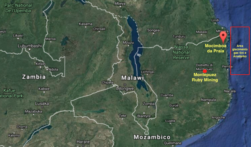 Mappa del nord del Mozambico con la localizzazione di Macimboa da Praia, la Montepuez Ruby Mining e l'area del giacimento di gas Eni e Anadarko (cortesy Google Maps)