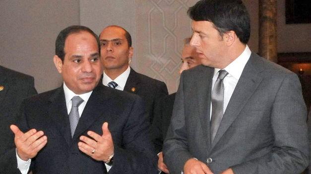 Il Presidente egiziano Al-Sisi nell'incontro con l'allora Presidente del Consiglio Italiano Matteo Renzi