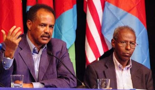 il dittatore eritreo Isaias Afeworki e il suo braccio destro Yemane Gebreab recentemente ferito da un dissidente a Roma