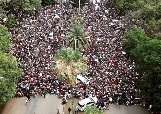 Manifestazione contro Mugabe ad Harare, capitale dello Zimbabwe, vista da un drone