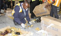 A stockpile of contraband ivory seized at the Nairobi Airport