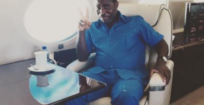 Teodorin Nguema Obiang nel suo jet privato. Fonte Instagram.