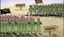 Un vignettista somalo descrive così l'invasione delle truppe keniote in Somalia dirette verso il porto di Kisimayo, mentre gli shebab marciano verso il il Kenya