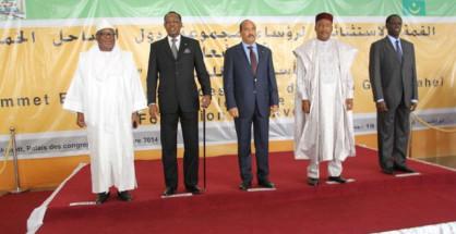 I capi di Stato del G5 Sahel: Ibrahim Boubacar Keïta (Mali), Idriss Déby Itno (Ciad), Mohamed Ould Abdelaziz (Mauritania), Roch Marc Christian Kaboré (Burkina Faso) e Mahamadou Issoufou (Niger)
