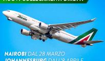 Questa voto propagandava la nuova rotta per Nairobi l'Alitalia aveva annunciati di aprire dal prossimo 28 marco