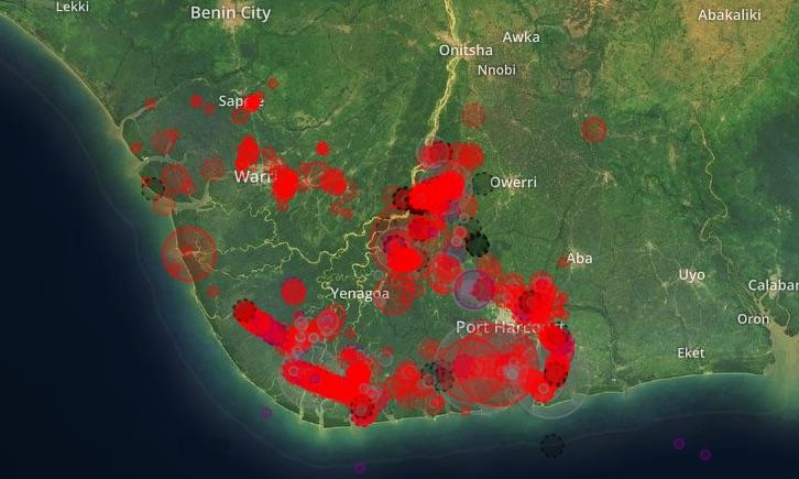 Mappa delle fuoriuscite di petrolio da gennaio a marzo 2018 (fonte https://oilspillmonitor.ng)
