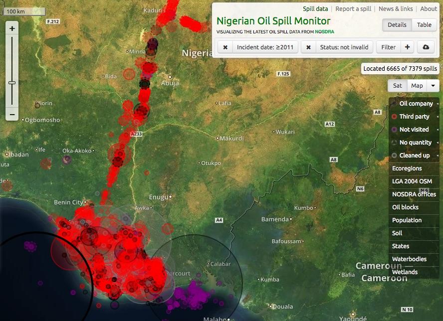 Mappa delle fuoriuscite di petrolio dal 2011 (fonte https://oilspillmonitor.ng)