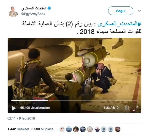 Il tweet delle Forze armate egiziane