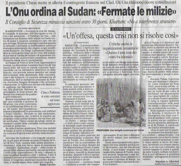 Sudan 04-07-31 UN fermate le milizie