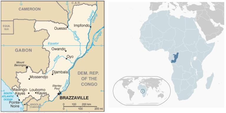 Mappa del Congo-B e la sua posizione nel continente africano