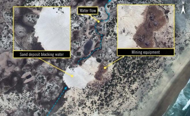 Foto satellitare dell'attività mineraria di Haiyu Mozambique Mining Limitada (Courtesy Amnesty International)