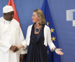 epa06755163 President of The Gambia, Adama Barrow (L) is welcomed European Union Foreign Policy Chief Federica Mogherini (R) ahead to High level conference on The Gambia in Brussels, Belgium, 22 May 2018. The conference, jointly organized by the European Union and the Government of The Gambia, focuses on confirming support to the country's reform agenda and democratic transition, as well as raising additional financial support for the implementation of its National Development Plan.  EPA/OLIVIER HOSLET