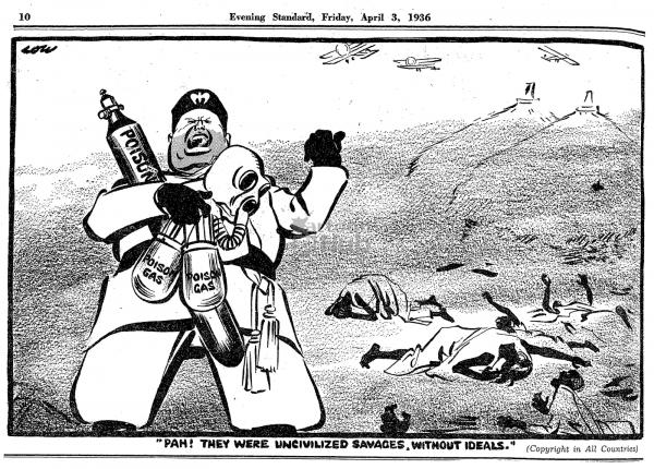 Vignetta satirica britannica su Benito Mussolini