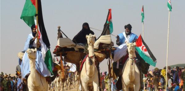 Dimostrazione del Fronte Pelisario nel Sahara occidentale