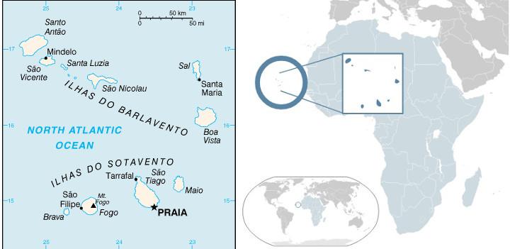 Mappa dell'arcipelago di Capo Verde