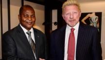 Faustin-Archange Touadéra, presidente della Repubblica Centrafricana, a sinistra, Boris Franz Becker, ex star del tennis, a destra