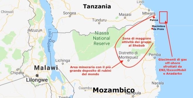 Mappa della provincia di Cabo Delgado dove al Shabab da ottobre 2017 attacca i villaggi