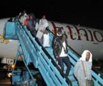 Ritorno da Mosca dei supporter calcistici nigeriani