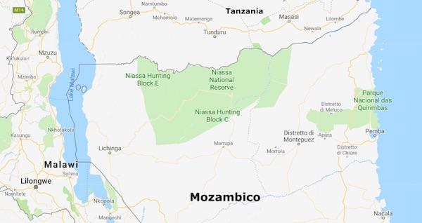 Mappa dell'area dove è situato il Niassa National Reserve al confine con la Tanzania