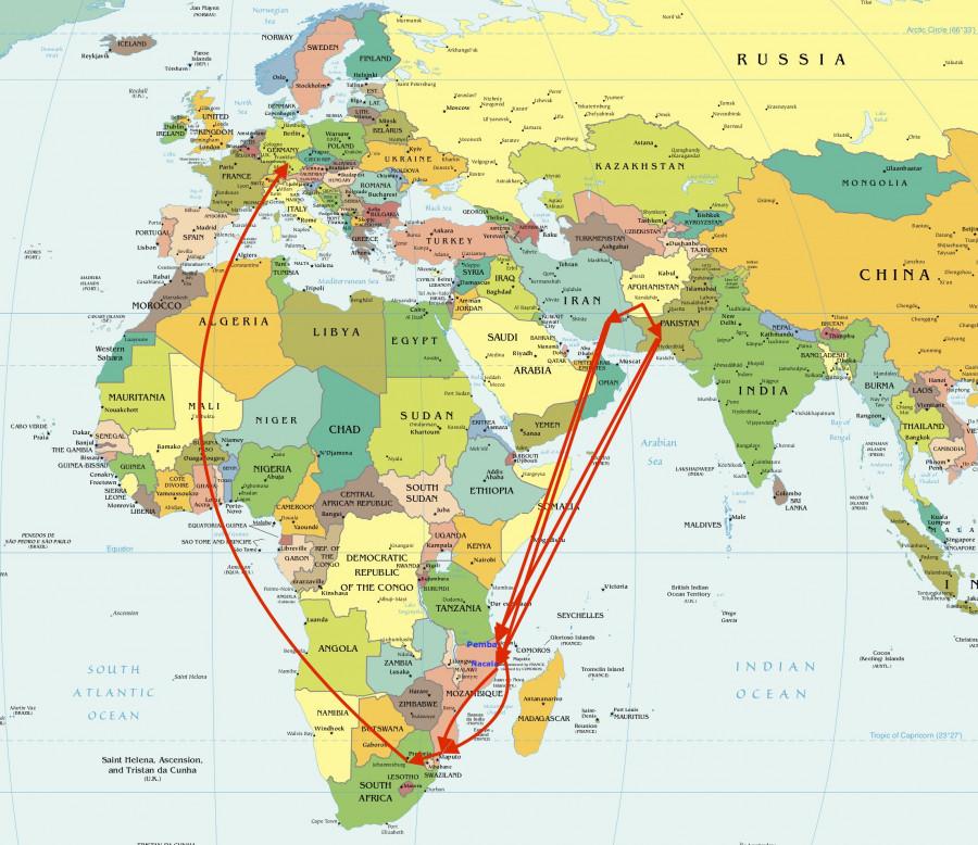Mappa del traffico di eroina che dall'Afganistan, attraverso il Mozambico, arriva in Europa