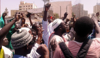 Supporters of some of the accused outside the Dakar courthouse after the verdicts were delivered.