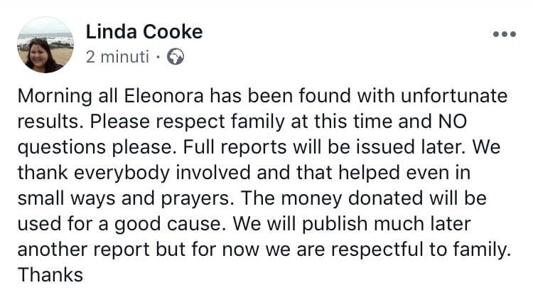 Il tweet che conferma il decesso di Eleonora Contin