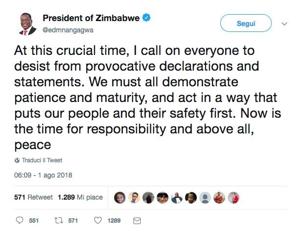Tweet del neo presidente Emmerson Mnangagwa