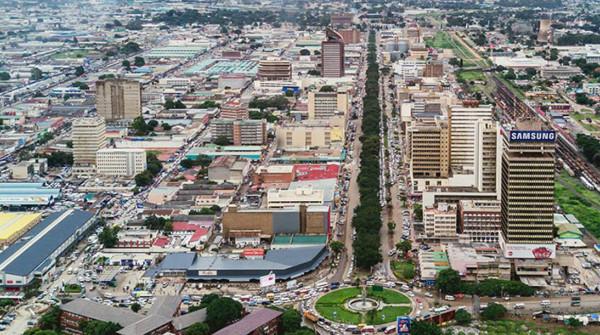 Veduta aerea di Lusaka, capitale dello Zambia