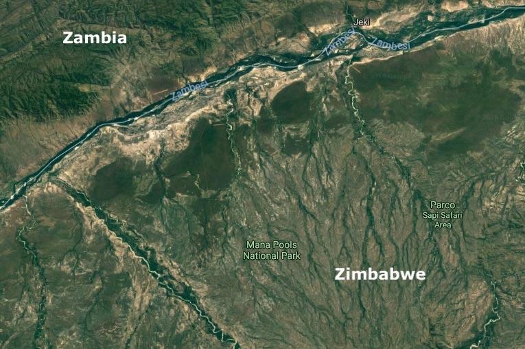 Mappa del Mana Pool National Park in Zimbabwe (Courtesy Google Maps)