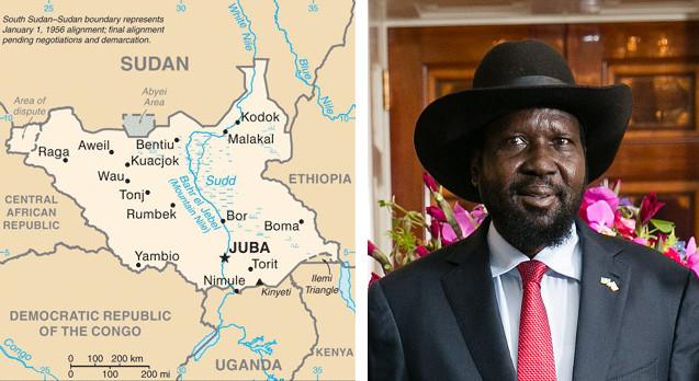 Mappa del Sudan del Sud e il presidente Salva Kiir