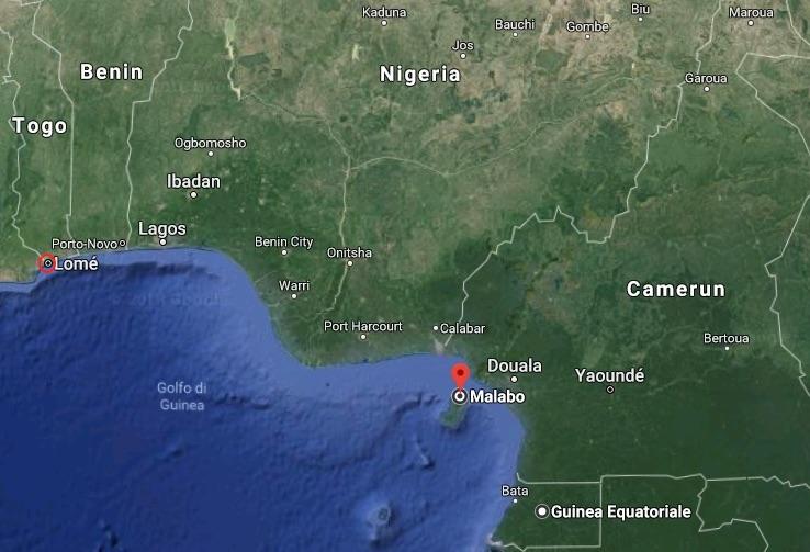 Mappa con la posizione di Lomè, capitale del Togo e Malabo, capitale della Guinea Equatoriale (Courtesy Google Maps)
