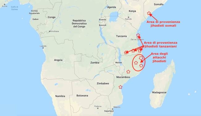 Mappa della provenienza dei jihadisti mozambicani e dell'area degli attacchi (Courtesy Google Maps)