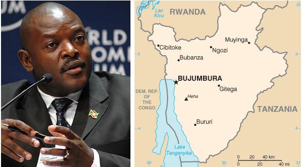 Pierre Nkurunziza, presidente del Burundi e la mappa dell'ex colonia belga