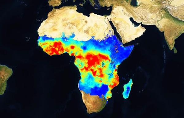 Mappa della malaria in Africa sub-sahariana. In rosso le aree maggiormente colpite (Courtesy Malaria Atlas Project)